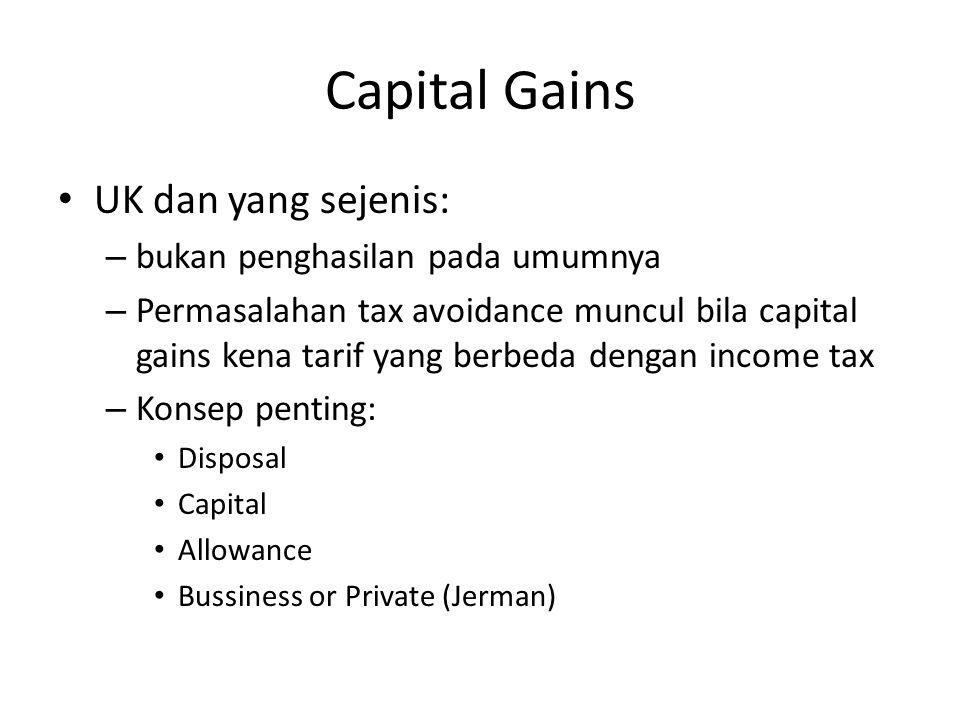 Capital Gains UK dan yang sejenis: bukan penghasilan pada umumnya