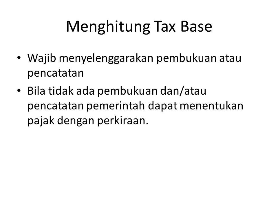 Menghitung Tax Base Wajib menyelenggarakan pembukuan atau pencatatan