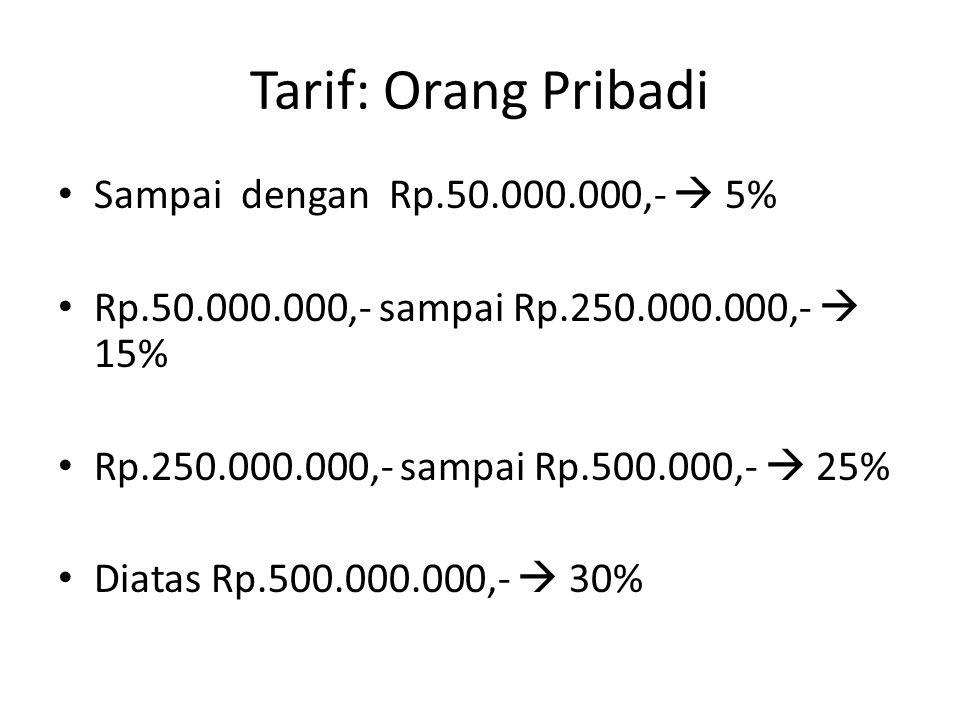Tarif: Orang Pribadi Sampai dengan Rp.50.000.000,-  5%