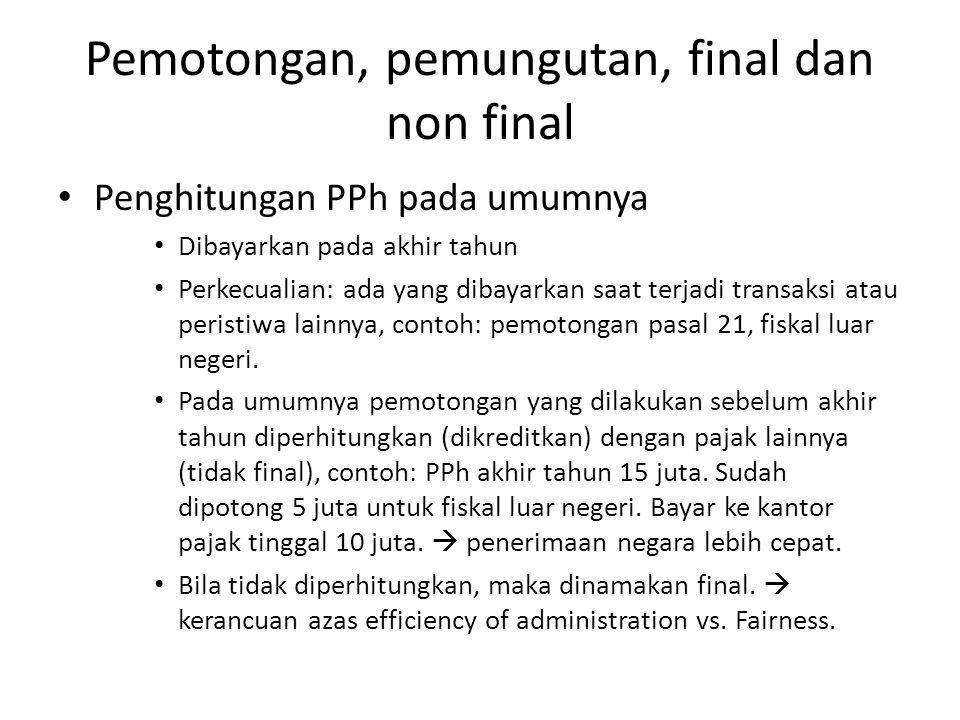 Pemotongan, pemungutan, final dan non final