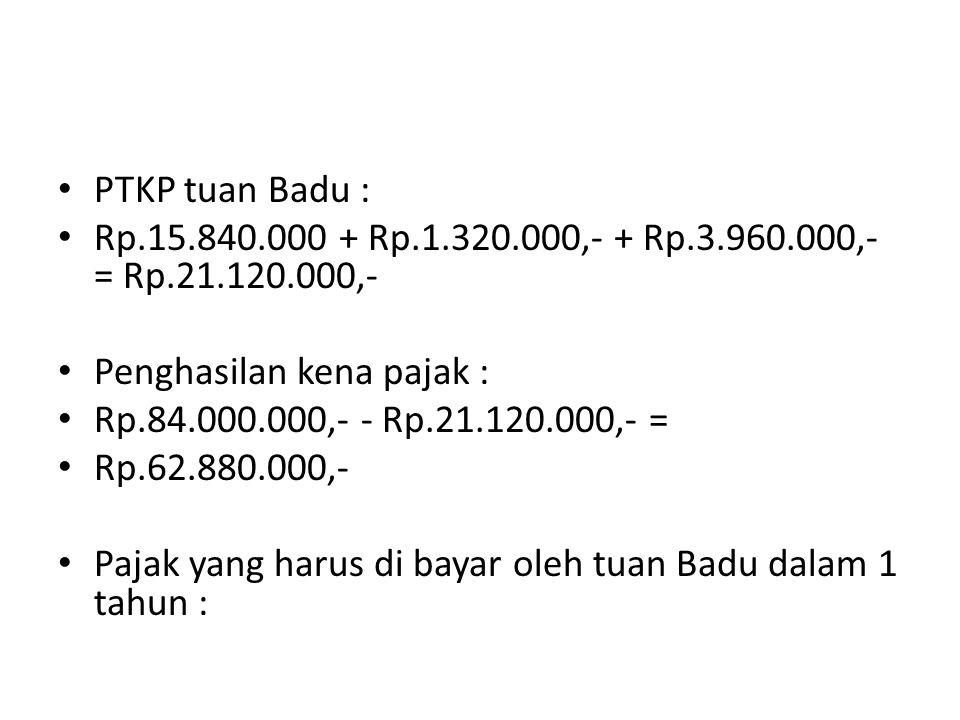 PTKP tuan Badu : Rp.15.840.000 + Rp.1.320.000,- + Rp.3.960.000,- = Rp.21.120.000,- Penghasilan kena pajak :