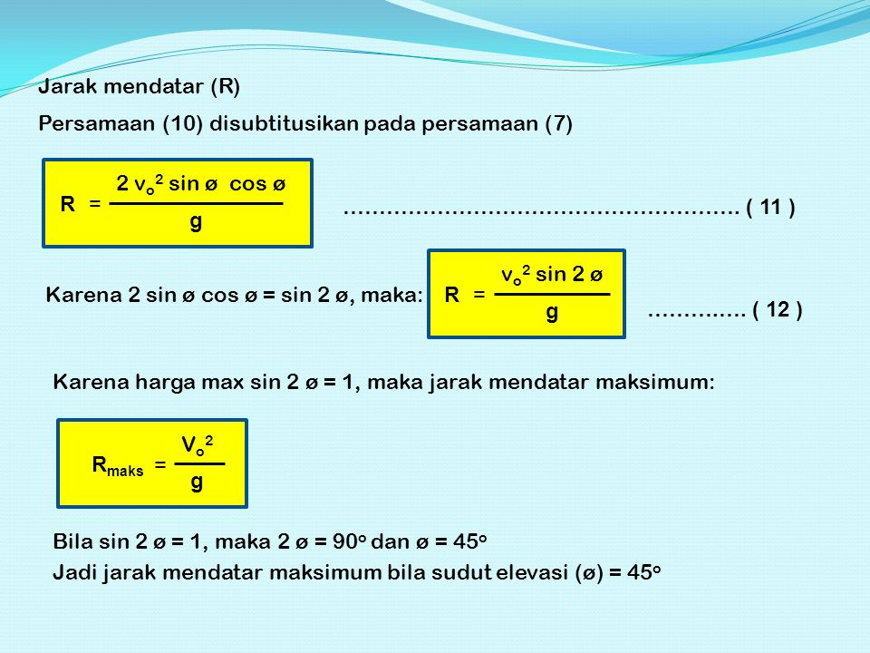 Jarak mendatar (R) Persamaan (10) disubtitusikan pada persamaan (7) R. = 2 vo2 sin ø cos ø. g.