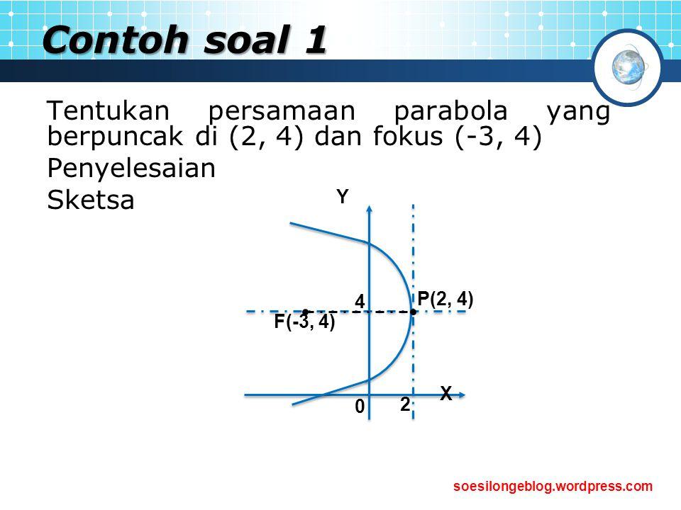 Contoh soal 1 Tentukan persamaan parabola yang berpuncak di (2, 4) dan fokus (-3, 4) Penyelesaian.