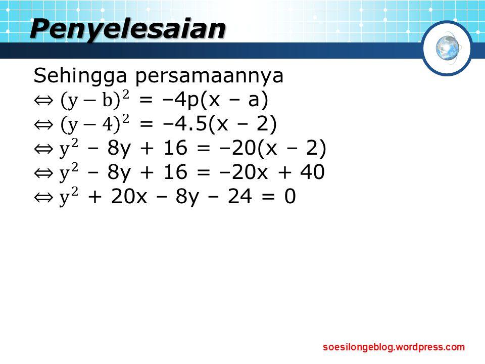 Penyelesaian Sehingga persamaannya ⇔ y−b 2 = –4p(x – a)