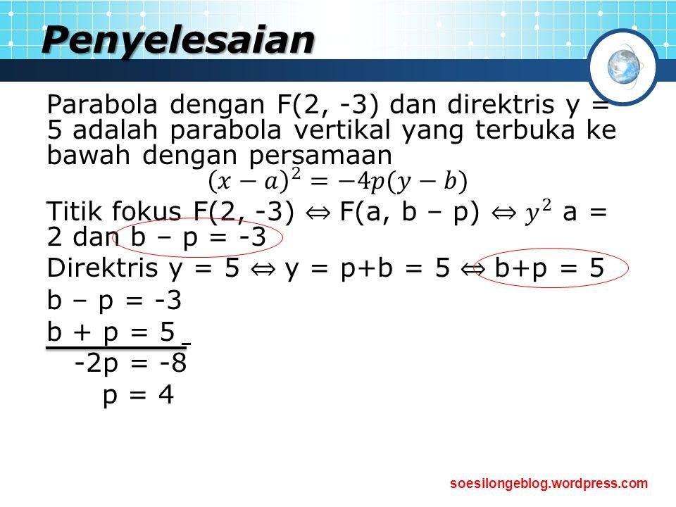 Penyelesaian Parabola dengan F(2, -3) dan direktris y = 5 adalah parabola vertikal yang terbuka ke bawah dengan persamaan.