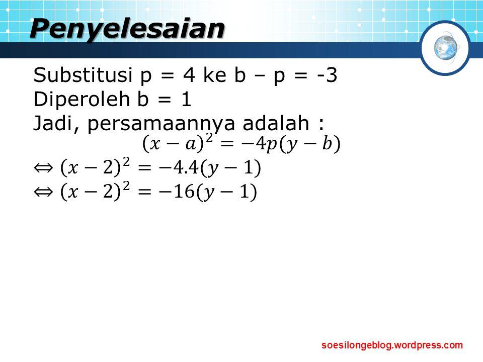 Penyelesaian Substitusi p = 4 ke b – p = -3 Diperoleh b = 1