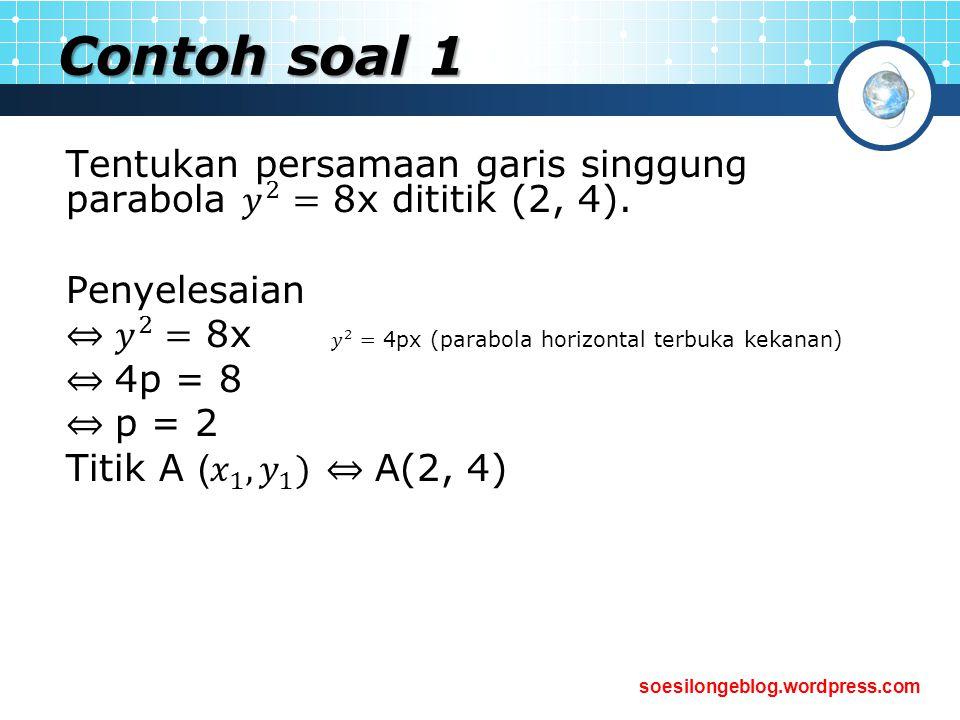 Contoh soal 1 Tentukan persamaan garis singgung parabola 𝑦 2 = 8x dititik (2, 4). Penyelesaian.