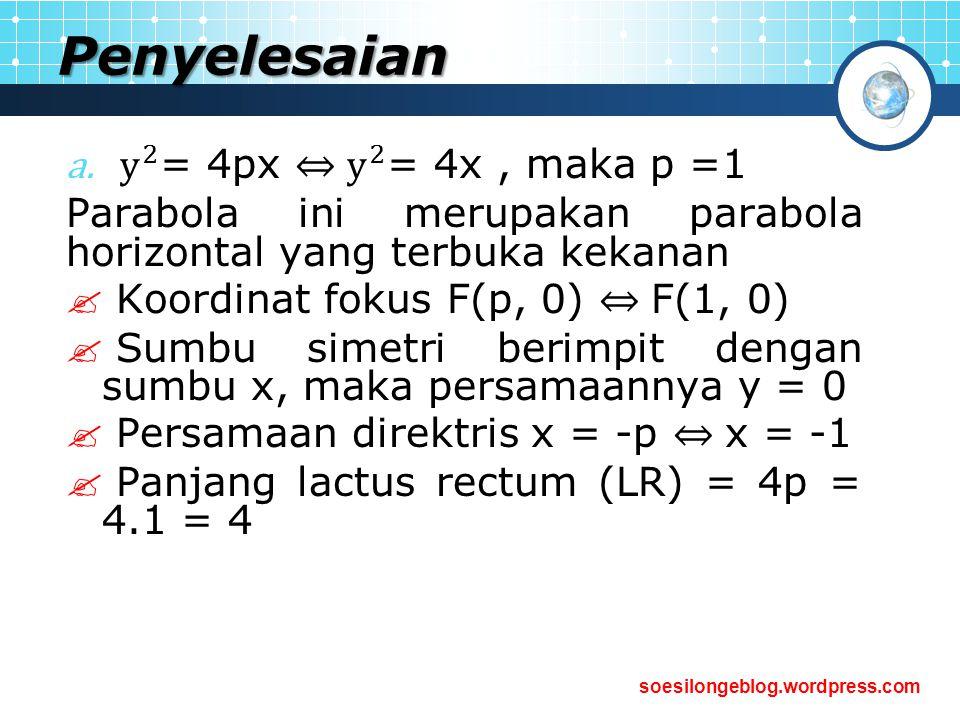 Penyelesaian y 2 = 4px ⇔ y 2 = 4x , maka p =1