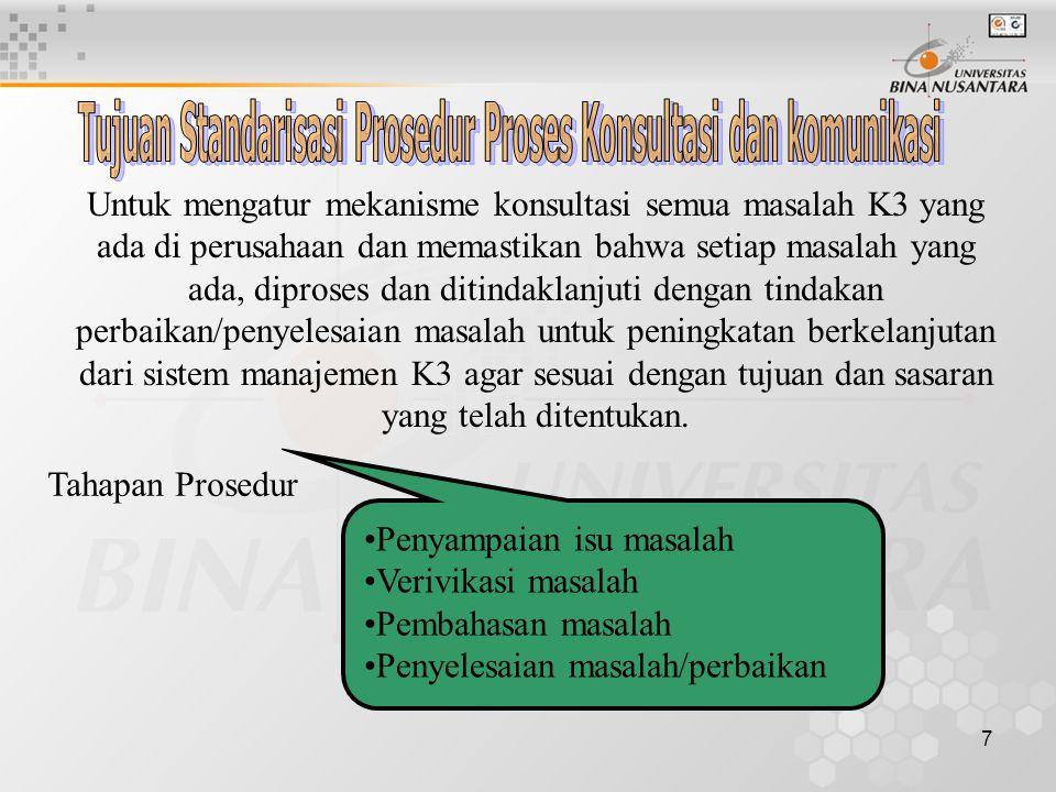 Tujuan Standarisasi Prosedur Proses Konsultasi dan komunikasi