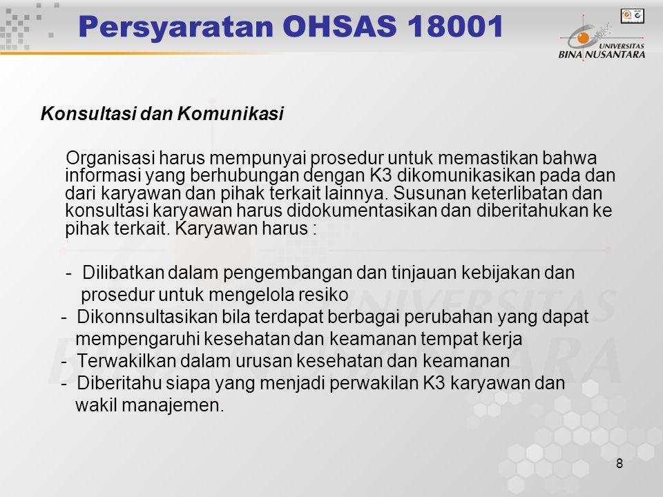 Persyaratan OHSAS 18001 Konsultasi dan Komunikasi