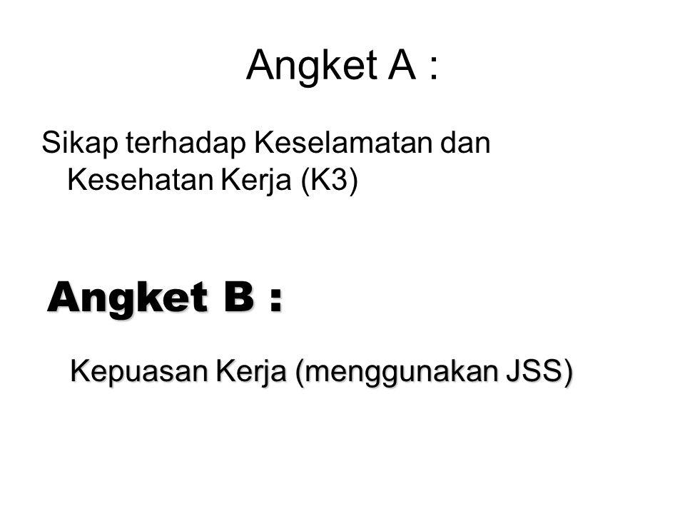 Angket A : Sikap terhadap Keselamatan dan Kesehatan Kerja (K3) Angket B : Kepuasan Kerja (menggunakan JSS)