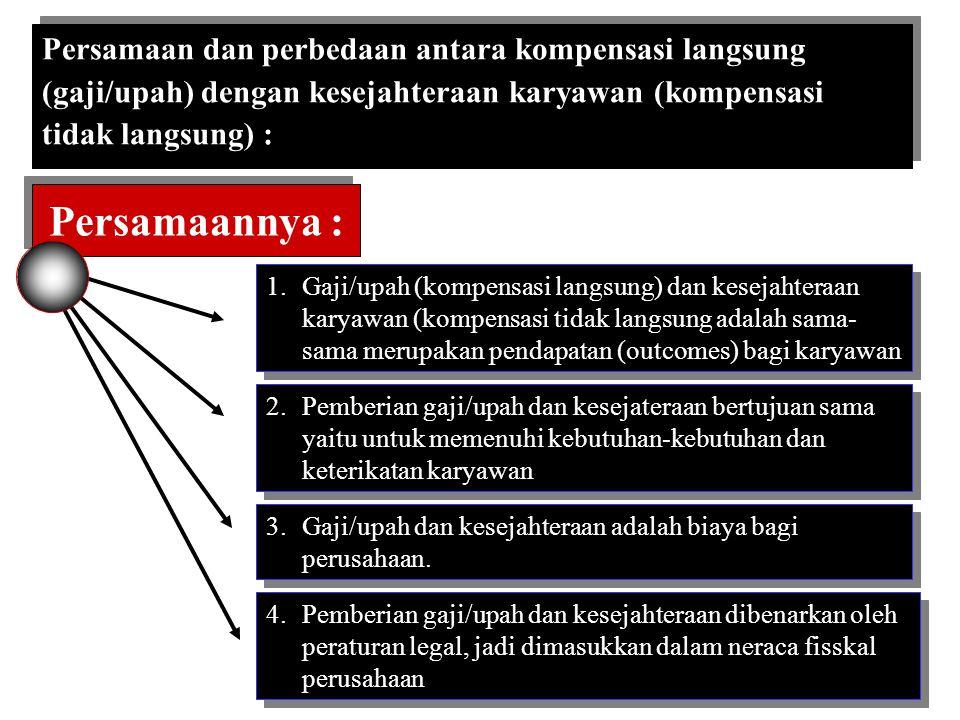 Persamaannya : Persamaan dan perbedaan antara kompensasi langsung
