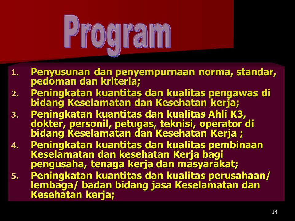 Program Penyusunan dan penyempurnaan norma, standar, pedoman dan kriteria;