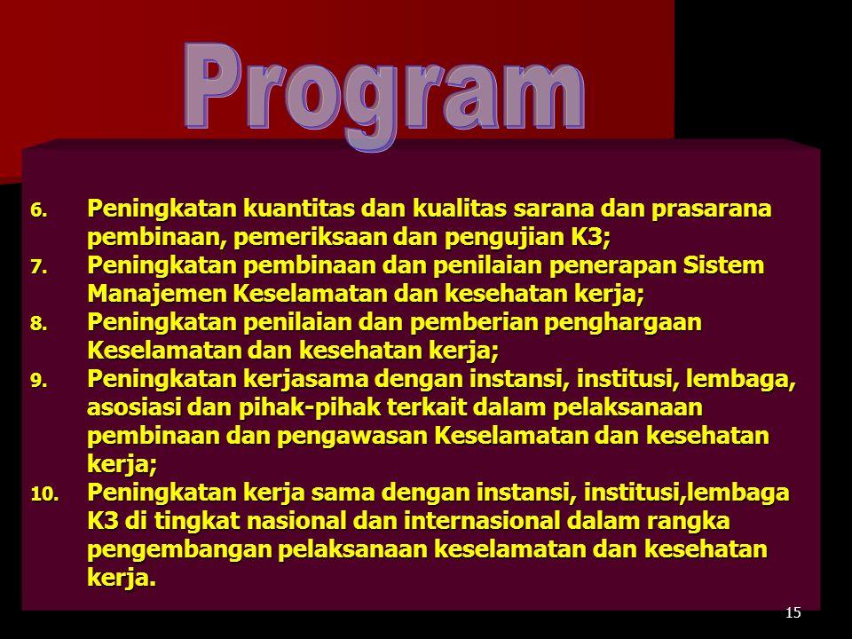 Program Peningkatan kuantitas dan kualitas sarana dan prasarana pembinaan, pemeriksaan dan pengujian K3;