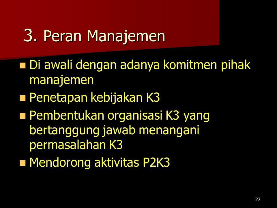 3. Peran Manajemen Di awali dengan adanya komitmen pihak manajemen
