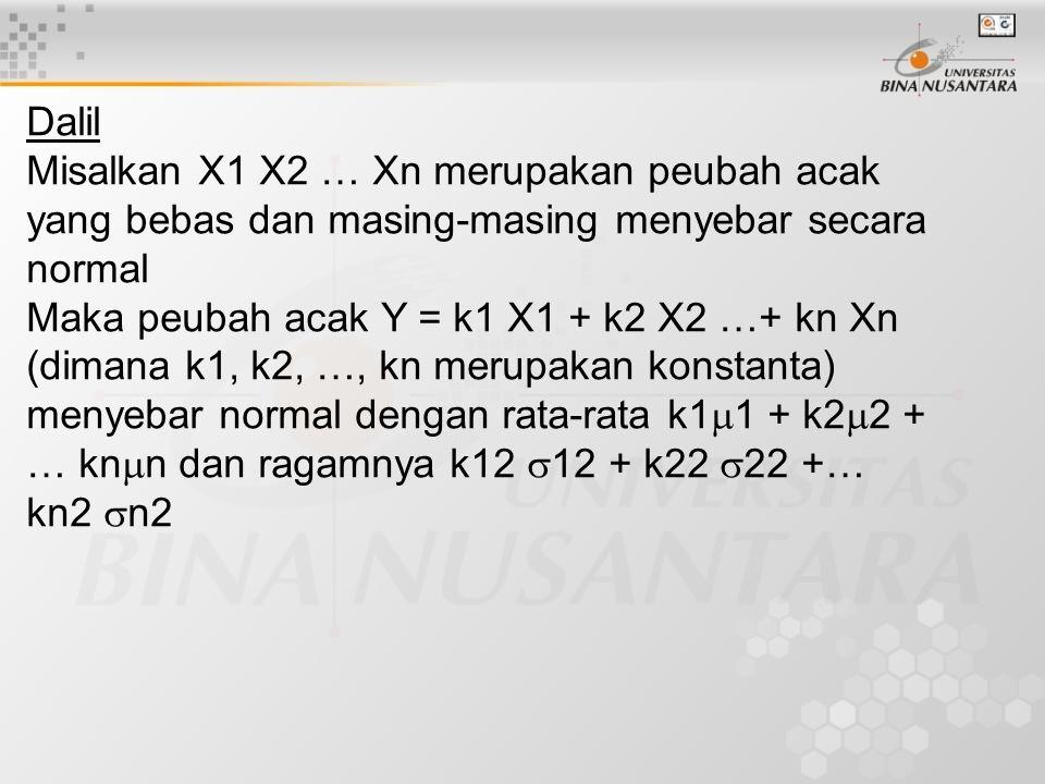Dalil Misalkan X1 X2 … Xn merupakan peubah acak yang bebas dan masing-masing menyebar secara normal.