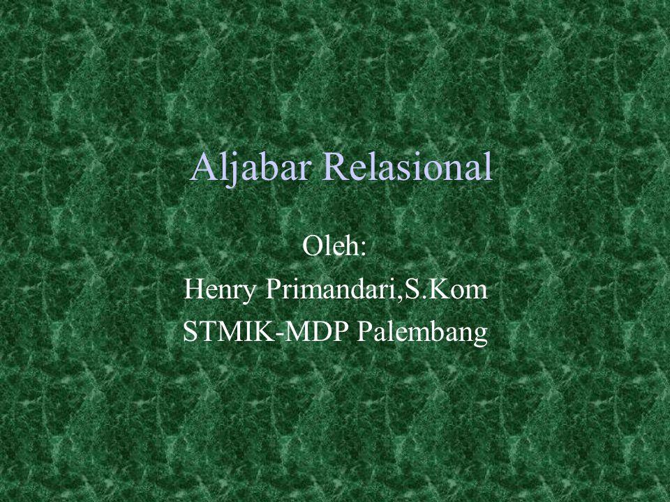 Oleh: Henry Primandari,S.Kom STMIK-MDP Palembang