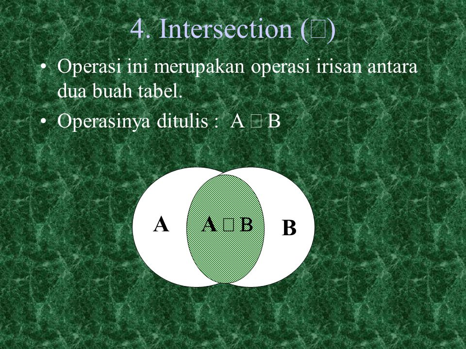 4. Intersection (Ç) A B A Ç B