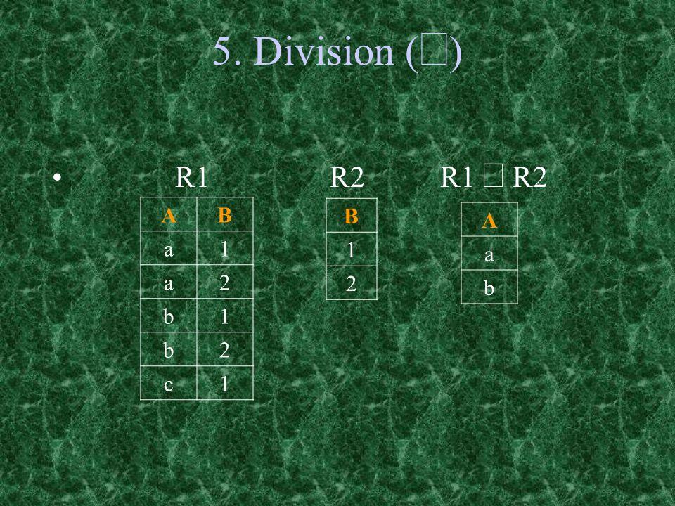 5. Division (¸) R1 R2 R1 ¸ R2 A B a 1 2 b c B 1 2 A a b