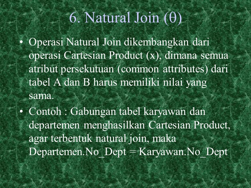 6. Natural Join (q)