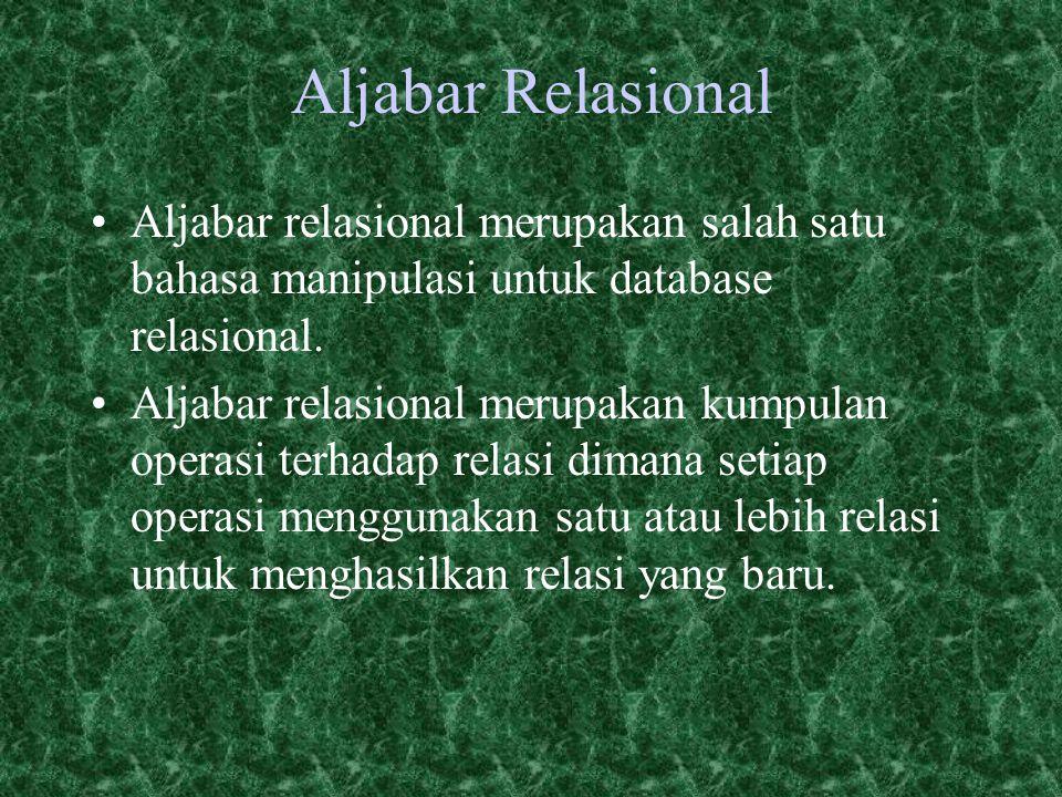 Aljabar Relasional Aljabar relasional merupakan salah satu bahasa manipulasi untuk database relasional.
