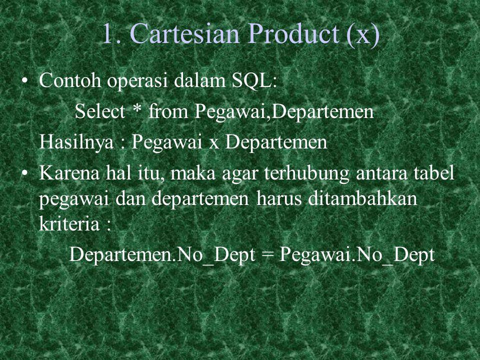 1. Cartesian Product (x) Contoh operasi dalam SQL: