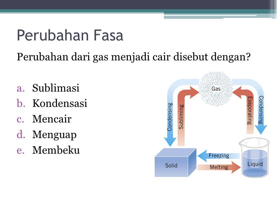 Perubahan Fasa Perubahan dari gas menjadi cair disebut dengan