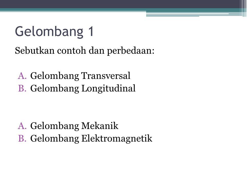 Gelombang 1 Sebutkan contoh dan perbedaan: Gelombang Transversal