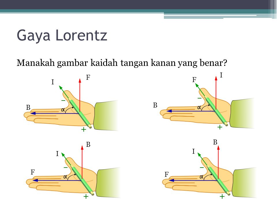 Gaya Lorentz Manakah gambar kaidah tangan kanan yang benar I F F I B