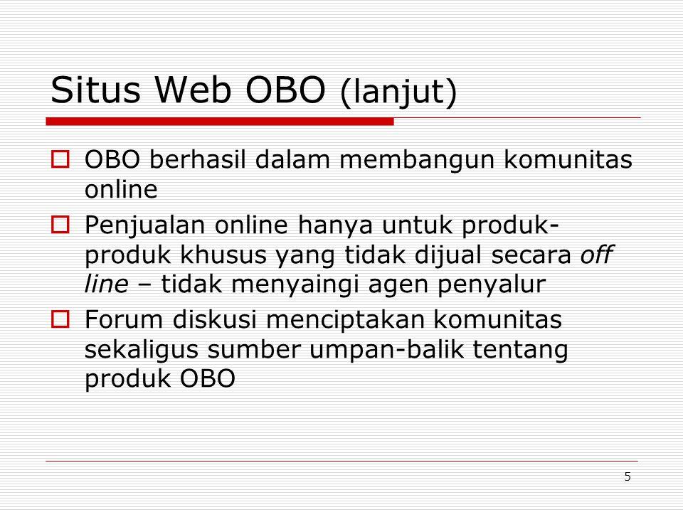 Situs Web OBO (lanjut) OBO berhasil dalam membangun komunitas online