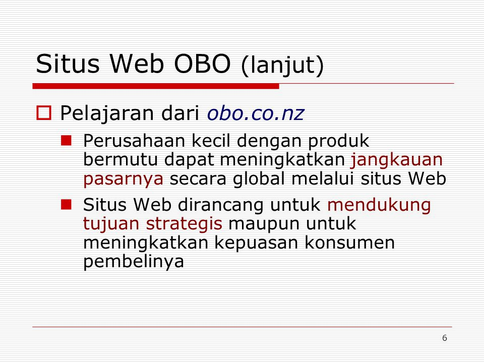 Situs Web OBO (lanjut) Pelajaran dari obo.co.nz