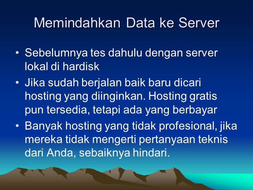 Memindahkan Data ke Server