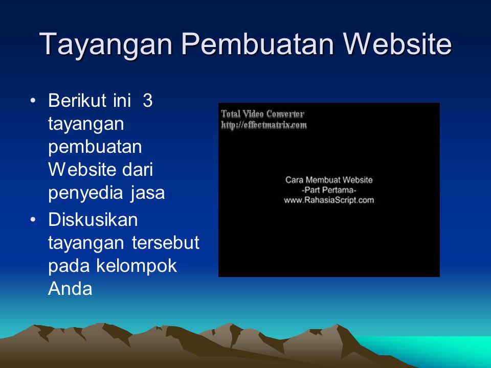 Tayangan Pembuatan Website