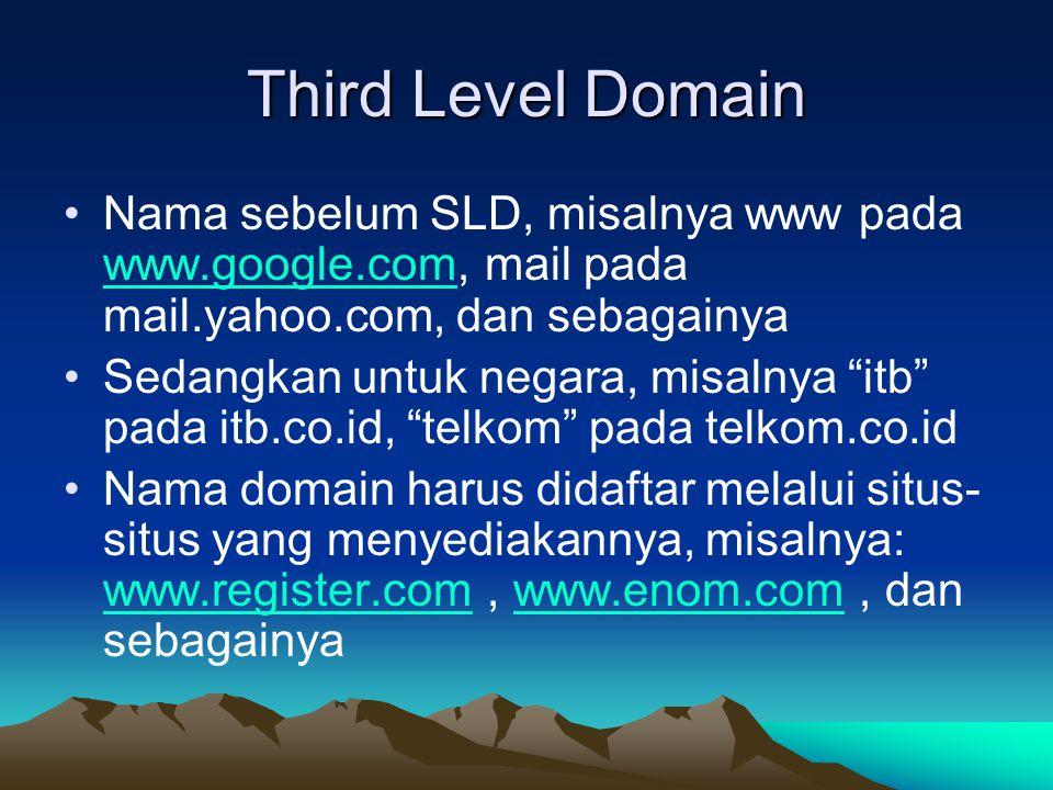 Third Level Domain Nama sebelum SLD, misalnya www pada www.google.com, mail pada mail.yahoo.com, dan sebagainya.