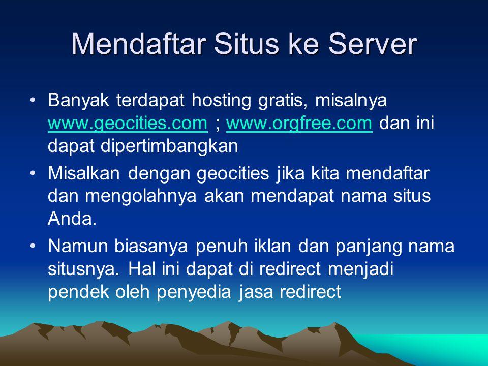 Mendaftar Situs ke Server