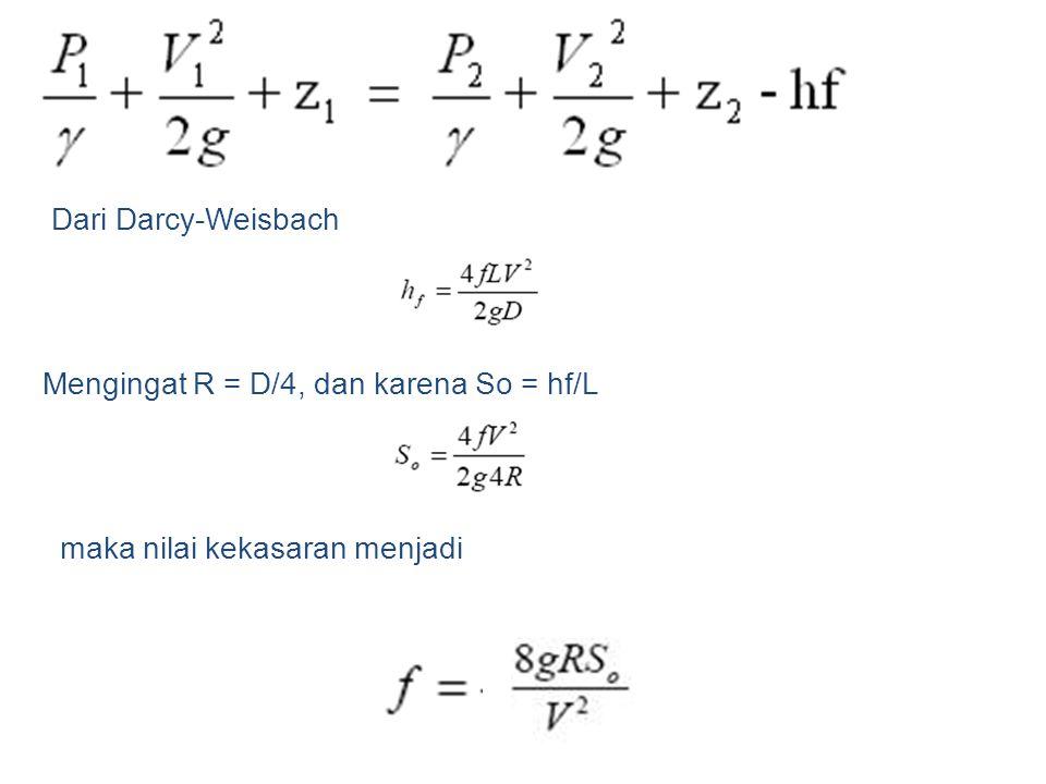 Dari Darcy-Weisbach Mengingat R = D/4, dan karena So = hf/L maka nilai kekasaran menjadi