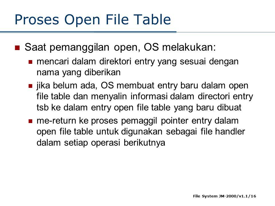 Proses Open File Table Saat pemanggilan open, OS melakukan:
