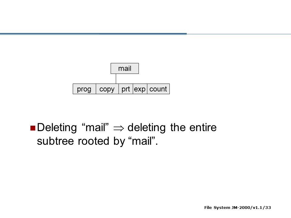 Deleting mail  deleting the entire subtree rooted by mail .