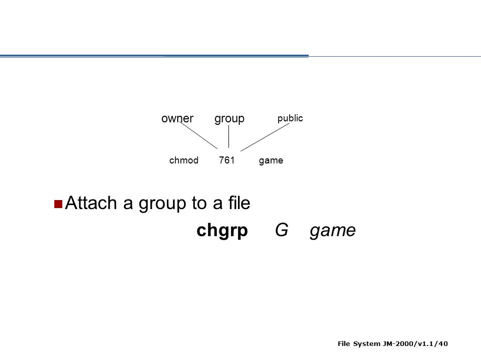 Attach a group to a file chgrp G game owner group public chmod 761
