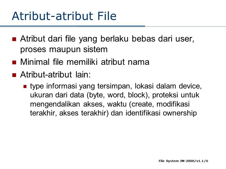 Atribut-atribut File Atribut dari file yang berlaku bebas dari user, proses maupun sistem. Minimal file memiliki atribut nama.