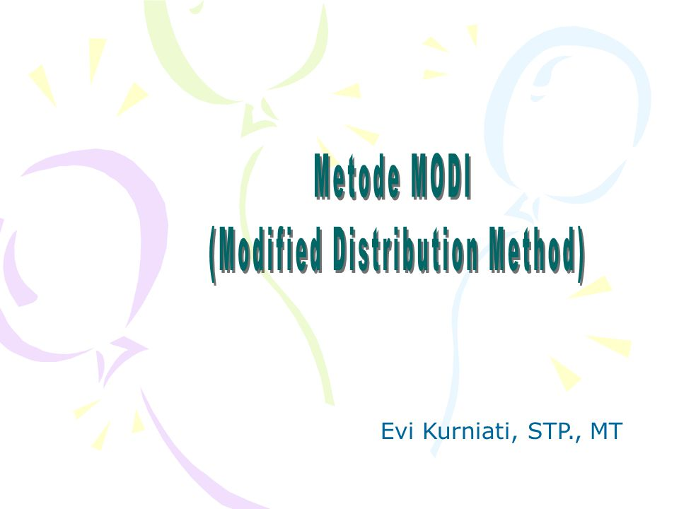 (Modified Distribution Method)