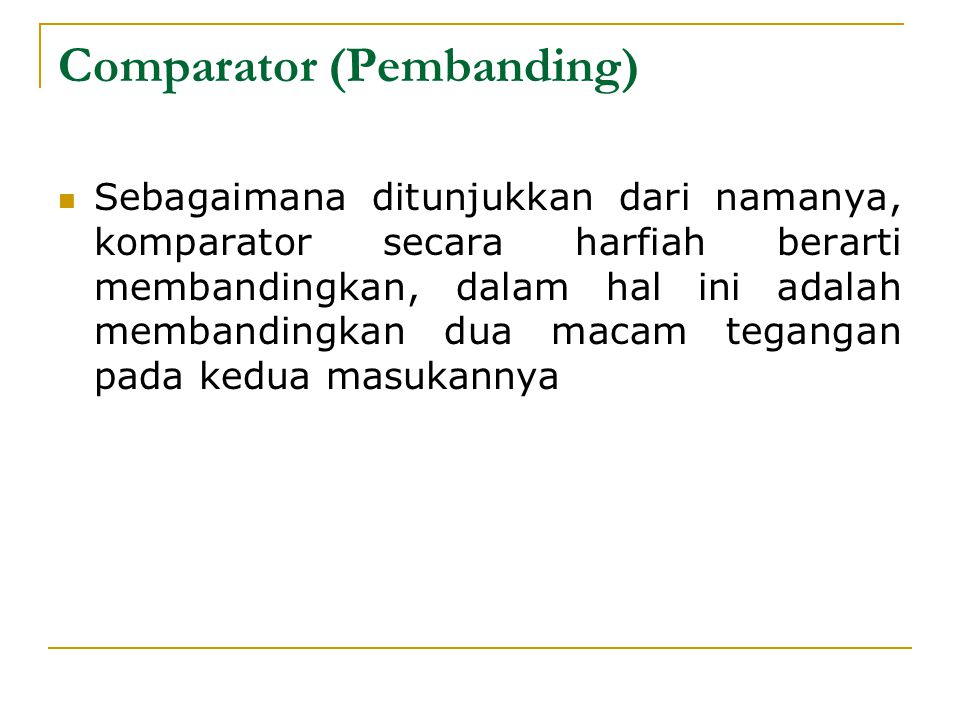 Comparator (Pembanding)