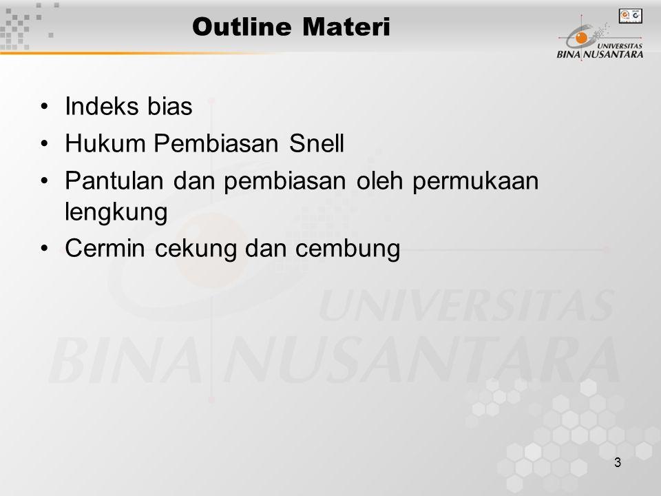 Outline Materi Indeks bias. Hukum Pembiasan Snell. Pantulan dan pembiasan oleh permukaan lengkung.
