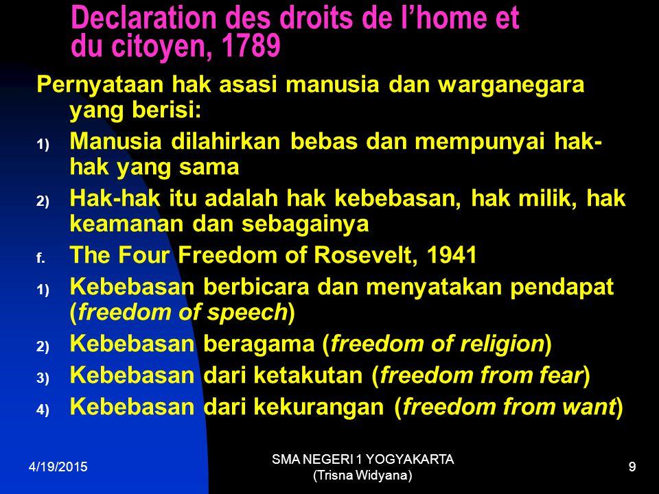 Declaration des droits de l'home et du citoyen, 1789