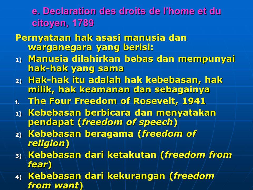 e. Declaration des droits de l'home et du citoyen, 1789