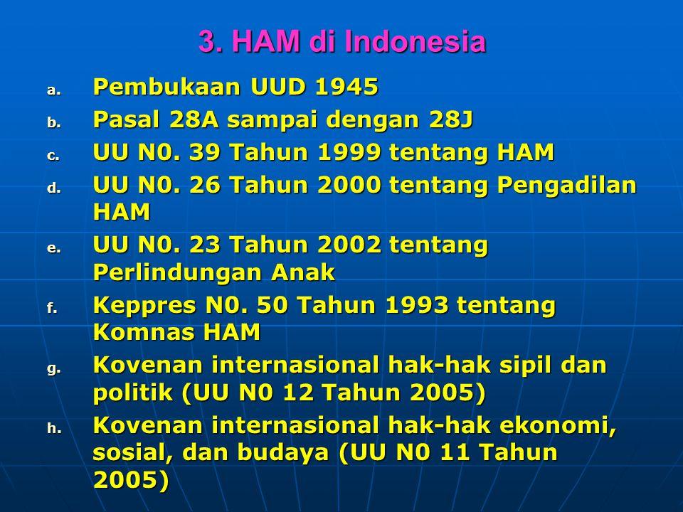 3. HAM di Indonesia Pembukaan UUD 1945 Pasal 28A sampai dengan 28J