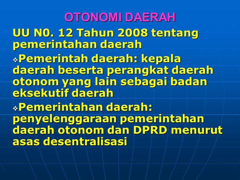 OTONOMI DAERAH UU N0. 12 Tahun 2008 tentang pemerintahan daerah