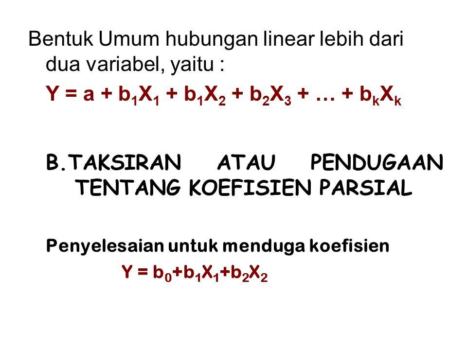 Bentuk Umum hubungan linear lebih dari dua variabel, yaitu :