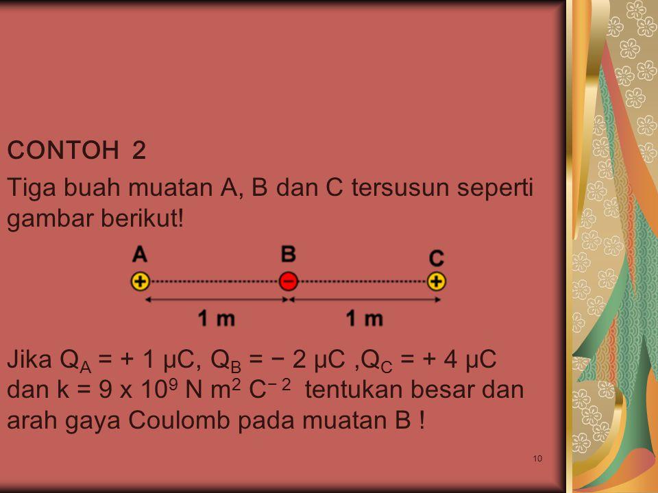 CONTOH 2 Tiga buah muatan A, B dan C tersusun seperti gambar berikut!