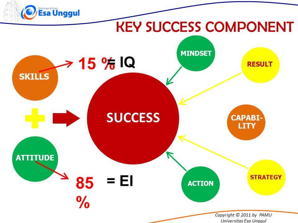 15 % 85 % KEY SUCCESS COMPONENT = IQ SUCCESS = EI SKILLS CAPABI-LITY